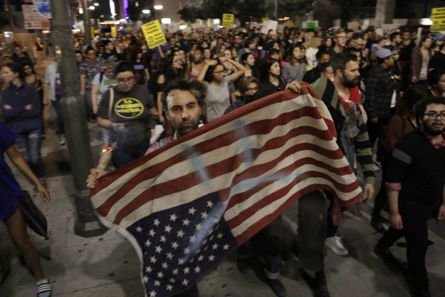 'Professional protesters' gather in DTLA