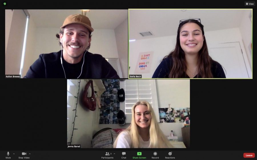 Pali Thirst Project Co-Presidents Jenna Barad and Stella Becir meet virtually with Thirst Project Director of Student Activation Kellen Brewer
