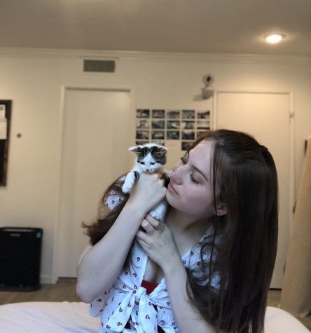 LA Kittens founder Emily Schwartz with a rescued cat.